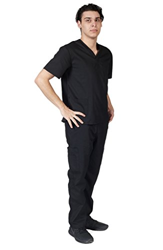 M&M SCRUBS Men Scrub Set Medical Scrub Top and Pants M Black