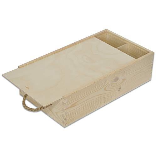 Creative Deco Caja Madera Vino | Tapa Deslizante y Cuerda | 2 Botellas | 35 x 21 x 11 cm | Perfecta para Regalo Decorar Decoupage Almacenamiento Decoración Manualidades