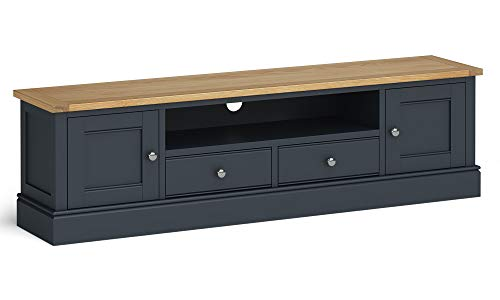 RoselandFurniture Chichester Painted Extra Large 180cm TV Stand - Multimedia Unit (Charcoal)
