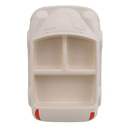 Chanety,taza de agua aislada,taza de agua Bebé Bambú Platos de fibra para niños Forma de automóvil creativa Placa dividida para niños Vajilla Niños Placa de alimentos taza de agua plegable