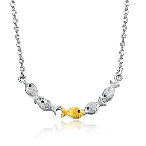 Inspirierende Halskette für Frauen Mädchen, die gegen den Strom schwimmen Halskette Kleiner Fisch Minimalistische Halskette Schmuck Aufheitern Geschenke für Tochterfreunde