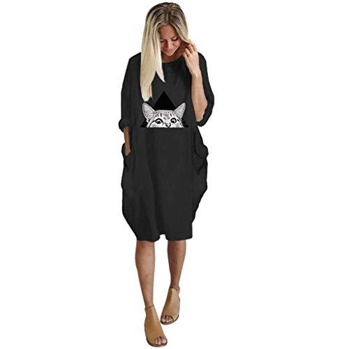 Dasongff Damen Pulloverkleid Große Größen Jumperkleid mit Katzenabdruck Sweatkleider Minikleid Knielang Blusenkleid Tunika Tops Oberteile Freizeitkleid