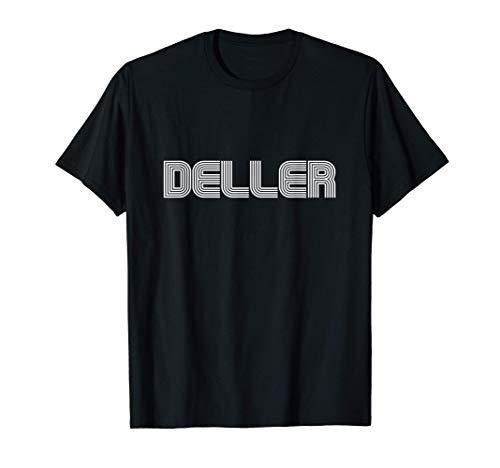 Deller Name Family Retro 70s 80s Stripe Funny T-Shirt