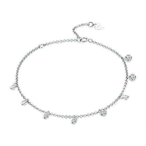 mimiliy Pulseras 925 Sterling Silver Minimalista Pulsera de Cadena Ajustable Adecuada joyería de Las Mujeres
