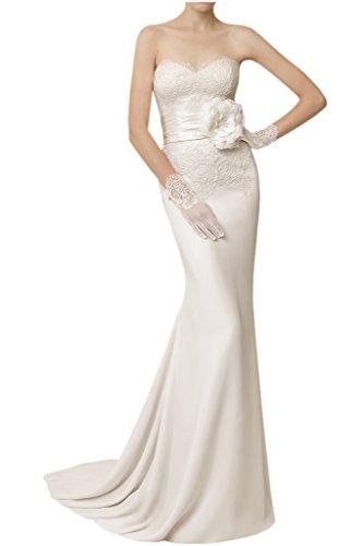 Victory Bridal Elegant Spitze Satin Damen Festliche Hochzeitskleider Brautkleider Brautmode Etui Lang -36 Elfenbein