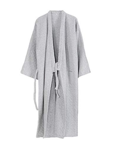 Hhalibaba Kimono de algodón para Hombre, Bata de baño Gruesa de tamaño Grande, Pijamas para el hogar, Bata de baño de Toalla para Hombre Azul Gris Medium