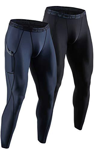 DEVOPS 2 Pack Men's Compression Pants Athletic Leggings with Pocket (Large, Black/Charcoal)