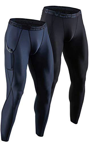 DEVOPS 2 Pack Men's Compression Pants Athletic Leggings with Pocket (Large, Black/Charcoal)