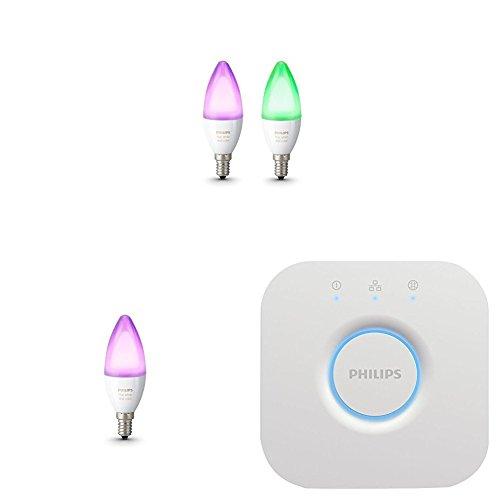 Philips Hue White and Color Ambiance - Kit de 3 bombillas LED E14 y puente, 6,5 W, iluminación inteligente, 16 millones de colores, compatible con Apple HomeKit y Google Home
