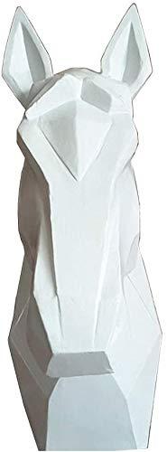 TAIDENG Hogar Mueble de Pared Escultura Cabeza Cabeza Escultura, Cabeza de Caballo Colgando Trofeo Trofeo Pared Estatua Geometría Cabeza Cabeza Resina Artesanía, Blanco (Color : White)