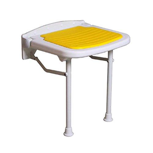 Weq Faltbare Wand-Duschhocker Wandmontierter Duschsitz Hocker Faltbare Änderungsschuhe Hocker für ältere Personen/Behinderte Anti-Rutsch-Stuhl mit Beinen Hocker in Gelb max. 250kg (3 Größen)