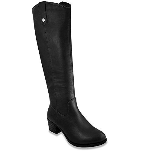 Damen Reitstiefel mit Absatz Kniehohe Stiefel mit hohem Schaft, Schwarz (Black Distress), 38 EU