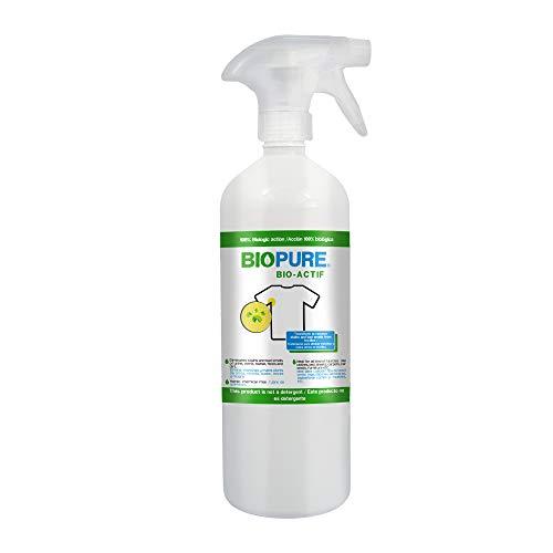 Biopure - Tratamiento quitamanchas y malos olores en textiles - Quita manchas y malos olores de orina, vómito, sudor, heces y mugre - Ideal para ropa, sábanas, tapetes, muebles, asientos de coche, etc - Acción 100% Biológica - Bio actif (1 Litro)