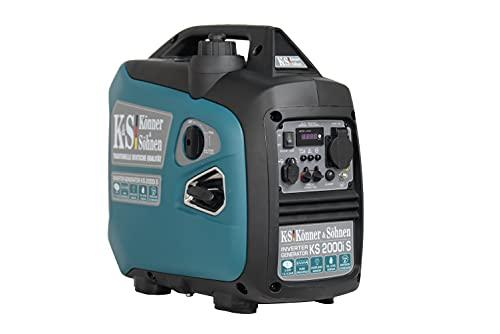 Könner&Söhnen KS 2000i S Invertergenerator.Schalldichtes Gehäuse (64 dB Lpa 7 m).Höchstleistung 2000 Watt, 1x16 A (230 V), 2 USB-Anschlüsse, Kupferwicklung, Kurzschluss- und Überlastschutz