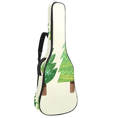 Bennigiry Colección de árbol de Navidad dibujada a mano - Bolsa de guitarra acústica para guitarrista