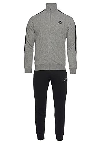 adidas GK9975 M 3S FT TT TS Survêtement pour homme Haut : gris chiné/noir Bas : noir/blanc 10