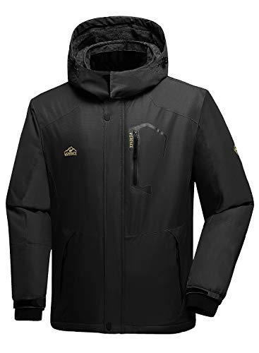 Men's Mountain Waterproof Ski Jacket Windproof Rain Jacket U120WCFY028,New.Black,L