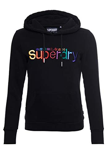 Superdry Damen Klassisches Rainbow Hoodie mit Stickerei Schwarz 38