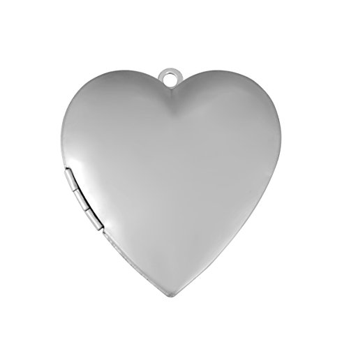 YF 2PCS Stainless Steel Heart Shaped Photo Locket Pendant for DIY Jewelry Making 42mmx40mm