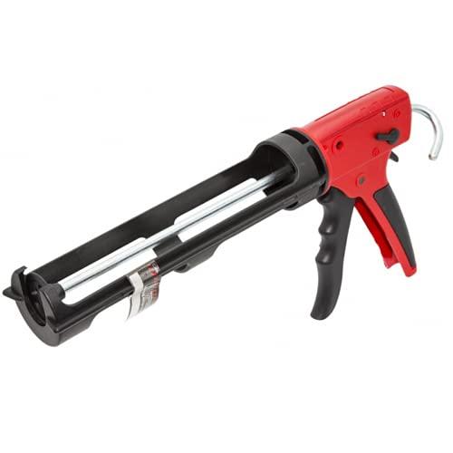 Pistola de PVC para aplicar silicona selladora, ideal para la extrusión de cualquier tipo de cartucho, muy ligera y de fácil manejo. Mango ergonómico. 310ml