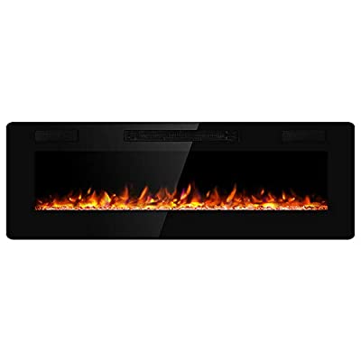 JAMFLY Electric Fireplace Wall Mounted 60 Inch Insert 3.86 Inch Super Thin Electric Fireplace Recessed Fit for 2 x 6 and 2 x 4 Stud Adjustable 12 Flame LED Bed Colors Remote Control with Touch Screen