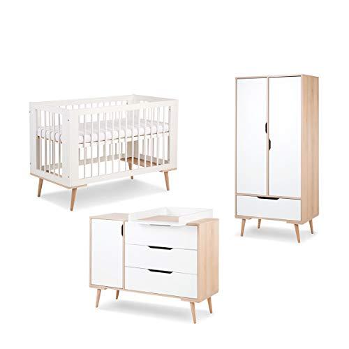 Cuna dormitorio completo 60x120 - cambiador - LittleSky by Klups Sofie armario 2 puertas - Blanco