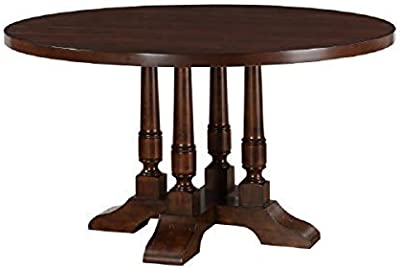 """Major-Q 54"""" Dia Traditional Style Cherry Finish Pedestal Leg Round Wooden Top Dining Table,"""