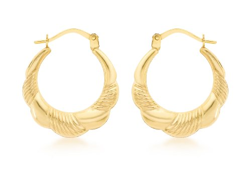 Carissima Gold 9ct Yellow Gold Patterned Scallop Edge Creole Earrings