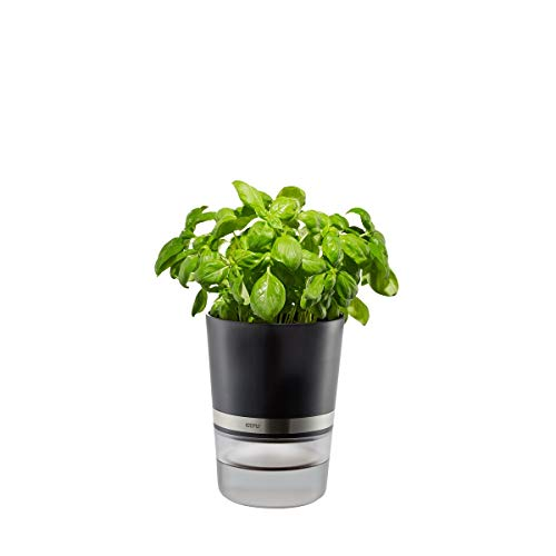 GEFU 18920 Pot à Herbes, Argent/Noir, ø 14,3 cm, h 18,5 cm