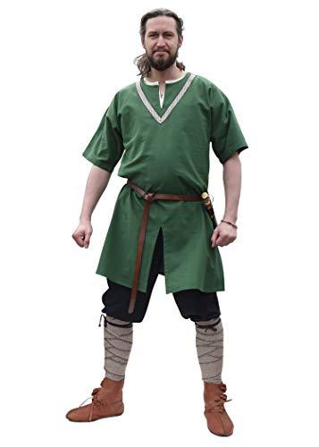 Battle-Merchant - Túnica Medieval Ailrik de Manga Corta - con Ribete Bordado - Disfraz de Guerrero Vikingo para Carnaval - Verde - S