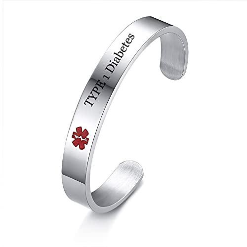 Nome della malattia del diabete di tipo 1 personalizzato Medical Alert Id Braccialetto del braccialetto del braccialetto per gl