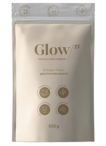 Glow25® Collagen Pulver [500g] - aus zertifizierter Weidehaltung – Kollagen Hydrolysat Peptide Typ 1, 2 und 3 - ohne Zusatzstoffe