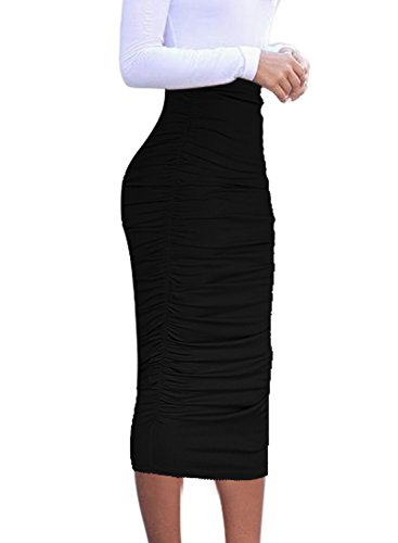 VFSHOW Womens Elegant Black Ruched Ruffle High Waist Pencil Midi Mid-Calf Skirt 2277 BLK S