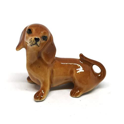 ZOOCRAFT Dachshund Dog Figurine Brown Ceramic Animals Hand Painted Porcelain Miniatures Collectible