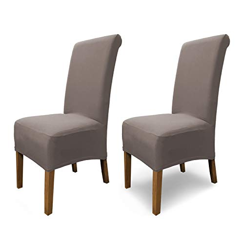 SCHEFFLER-Home Emma 2 Fundas de sillas, Estirable Cubiertas, Algodón extraíble flexibel Funda con Banda elástica, Topo