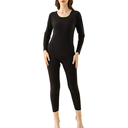 Litthing Ropa Interior Térmica para Mujer Set de Ropa Térmica Cuello Redondeado Ligera y Confortable (Negro, L)