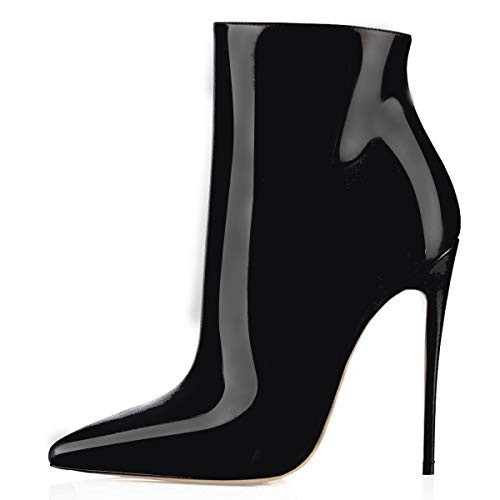 Soireelady Damen Winterstiefel Stiletto Zipper High Heels Short Shoe Ankle Boots | 12cm hohe Absätze | Spitzschuh Stiefel mit kurzem Schaft und Absätzen