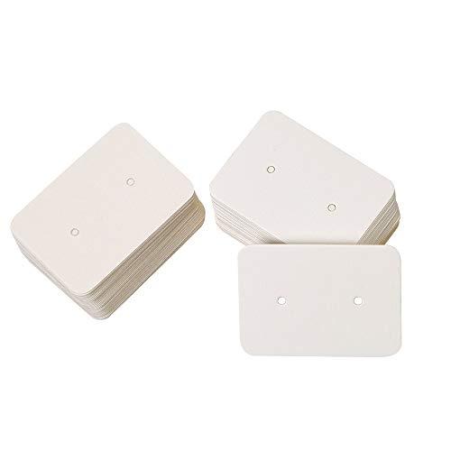 jijAcraft 200 tarjetas de presentación de pendientes, papel kraft para pendientes, 2,5 x 3,5 cm, rectangulares, pendientes de boda (blanco)