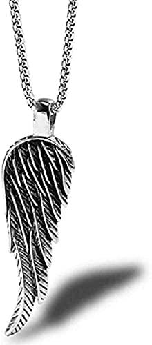 NC190 Collar con Colgante de ala de Plumas de Marea para Hombres, Accesorios de Ropa de ala con Personalidad Retro, Colgante de Acero de Titanio
