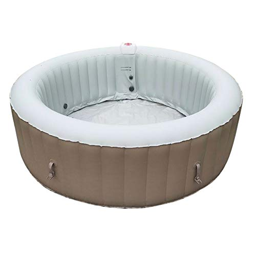 ALEKO Round Inflatable Jetted Hot Tub Spa with Cover - 6 Person - 265 Gallon - Brown