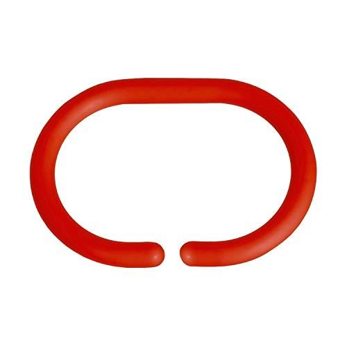 MSV 140849 - Lote de 12 Anillas para Cortinas de Ducha (plástico, Polipropileno, 6 x 0,4 x 4 cm), Color Rojo
