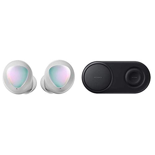 Samsung Galaxy Buds, Bluetooth True Wireless Earbuds (Wireless Charging Case Included), Silver & Wireless Charger Duo Pad, Fast Charge 2.0 - Black