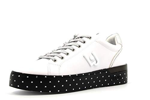 Liu Jo Silvia 01 Sneaker Donna in Pelle Bianca Bianco/Nero, 39