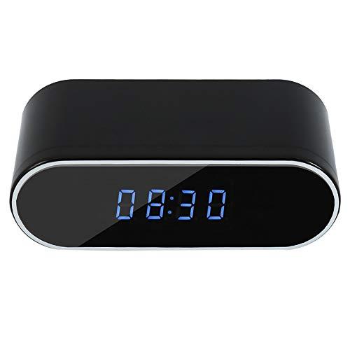 Reloj despertador con cámara espía WiFi 1080P, gran cámara con visión nocturna...