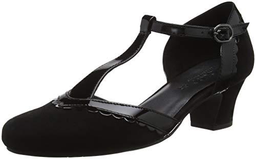 Hotter Viviene, Damen T-Spange, Black (Black Black Patent 007), 39 EU (6 UK)