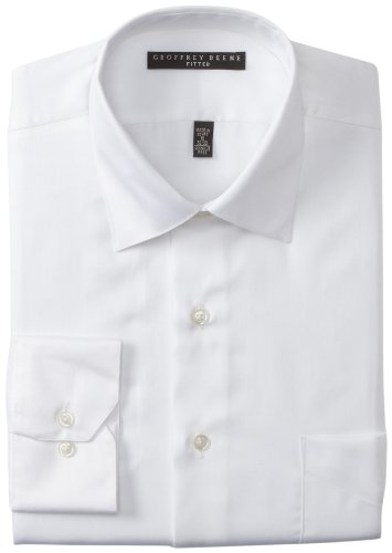 Geoffrey Beene Men's Cutaway Cuff Fitted Sateen Solid Dress Shirt