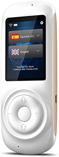 Mini Traduttore Vocale Istantaneo, Traduttore Simultaneo Portatile, Multilingue Supporta 72 Lingue Lavoro e Studio, Shopping D'oltremare - Hotspot/Wifi (T2-White)