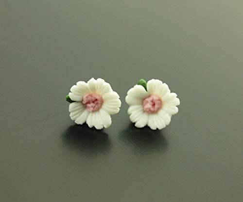 Ohrstecker Blume Blüte rosa weiß Porzellan Stecker Ohrringe Juvelato