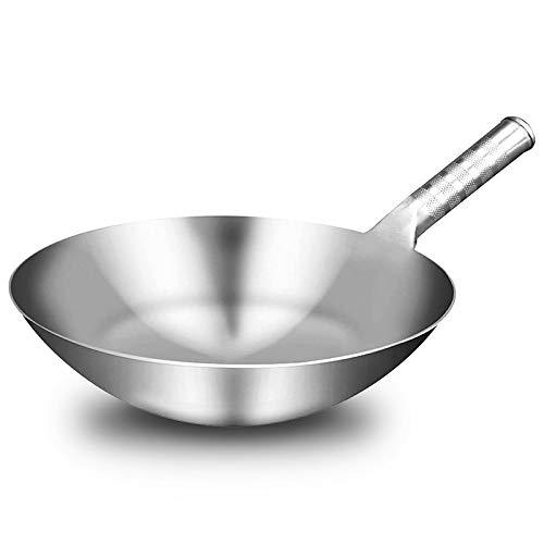 Wok, Wok de acero inoxidable de 1,8 mm de cocina grueso de hecho a mano chino tradicional Wok antiadherente Oxidación de gas Wok Cocina Pan, Wok Professional, 4875 (Color : As show, Size : 32cm)