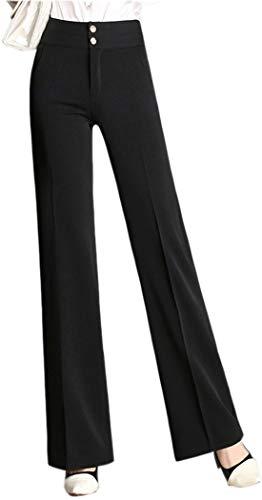 Chartou - Pantalones de Vestir para Mujer, Cintura Alta, Cierre de Doble botón, Corte de Bota - Negro - X-Large